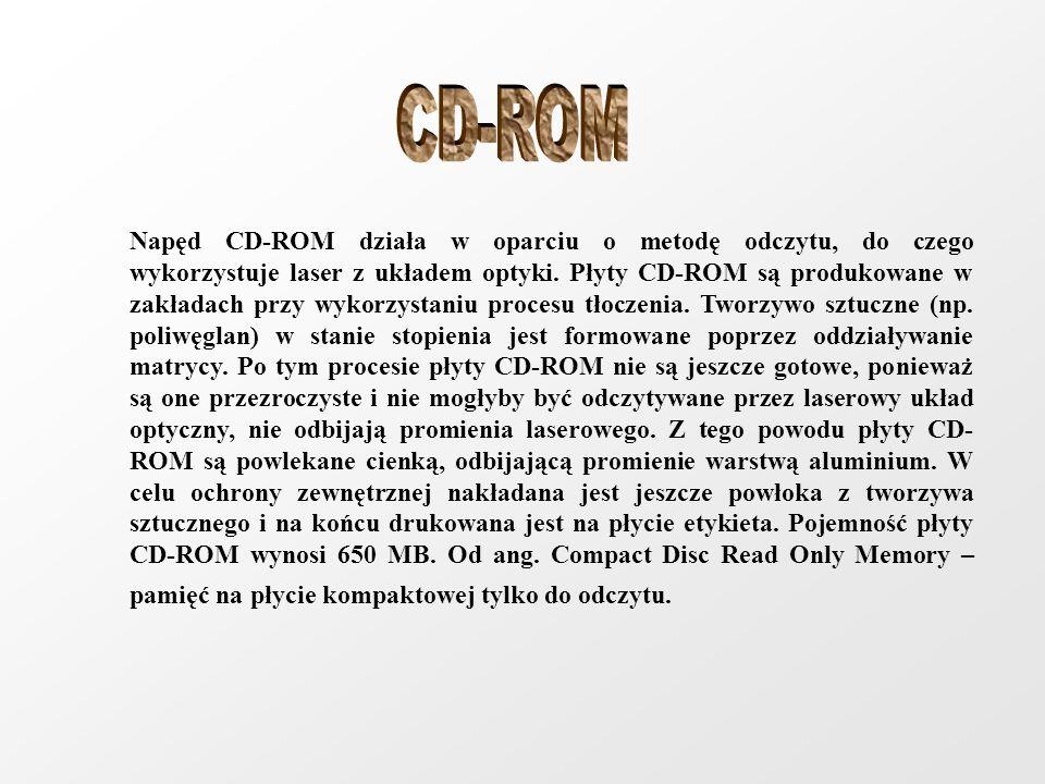 Napęd CD-ROM działa w oparciu o metodę odczytu, do czego wykorzystuje laser z układem optyki. Płyty CD-ROM są produkowane w zakładach przy wykorzystan