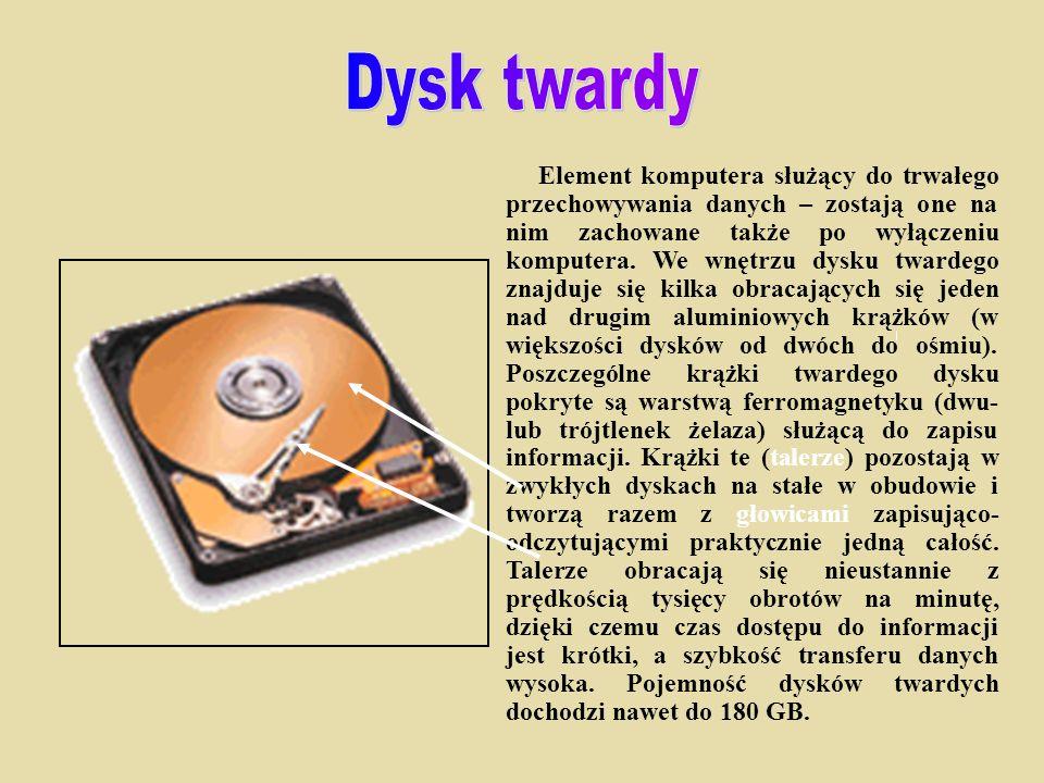 Element komputera służący do trwałego przechowywania danych – zostają one na nim zachowane także po wyłączeniu komputera. We wnętrzu dysku twardego zn
