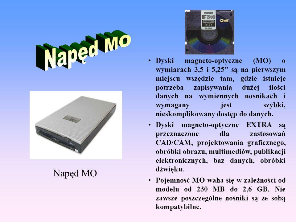 """Dyski magneto-optyczne (MO) o wymiarach 3,5 i 5,25"""" są na pierwszym miejscu wszędzie tam, gdzie istnieje potrzeba zapisywania dużej ilości danych na w"""
