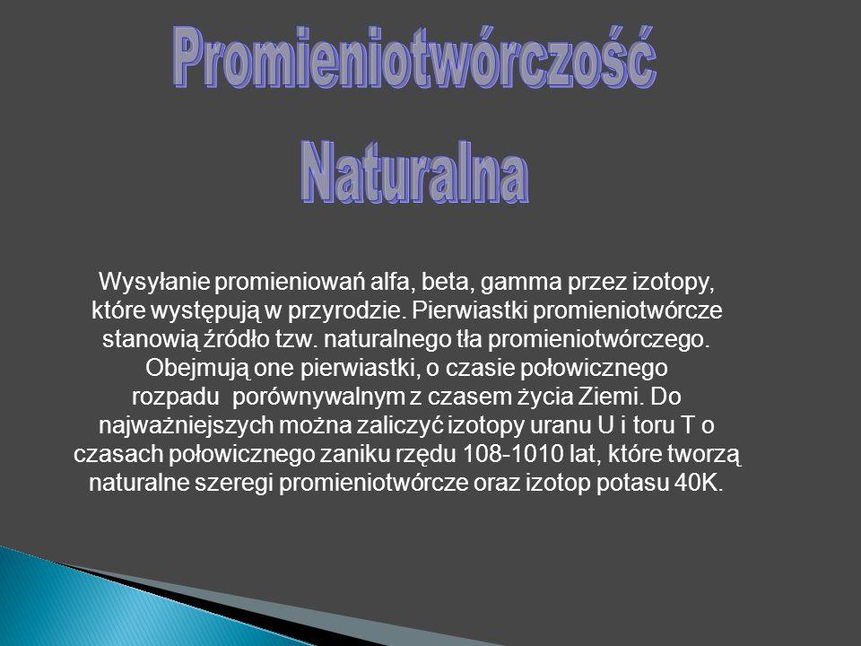 Wysyłanie promieniowań alfa, beta, gamma przez izotopy, które występują w przyrodzie.