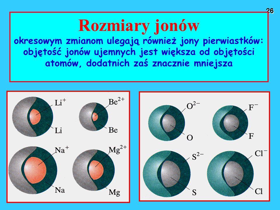 26 Rozmiary jonów okresowym zmianom ulegają również jony pierwiastków: objętość jonów ujemnych jest większa od objętości atomów, dodatnich zaś znacznie mniejsza