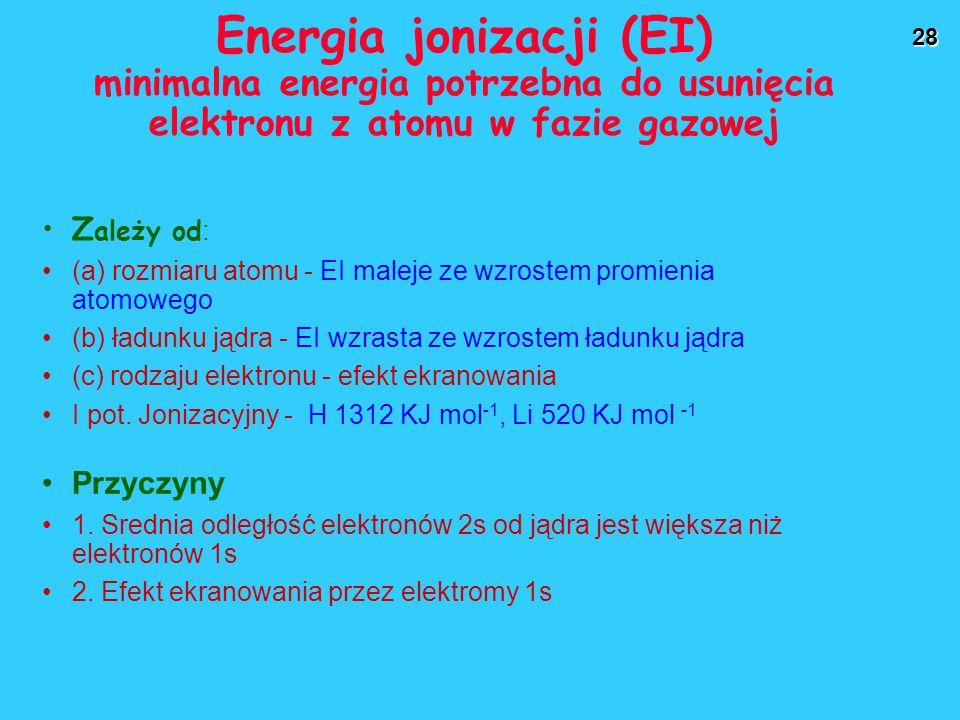 28 Energia jonizacji (EI) minimalna energia potrzebna do usunięcia elektronu z atomu w fazie gazowej Z ależy od : (a) rozmiaru atomu - EI maleje ze wzrostem promienia atomowego (b) ładunku jądra - EI wzrasta ze wzrostem ładunku jądra (c) rodzaju elektronu - efekt ekranowania I pot.