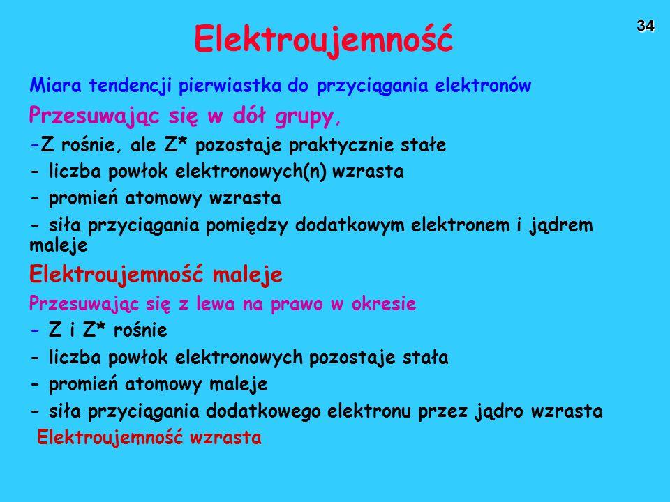 34 Elektroujemność Miara tendencji pierwiastka do przyciągania elektronów Przesuwając się w dół grupy, -Z rośnie, ale Z* pozostaje praktycznie stałe - liczba powłok elektronowych(n) wzrasta - promień atomowy wzrasta - siła przyciągania pomiędzy dodatkowym elektronem i jądrem maleje Elektroujemność maleje Przesuwając się z lewa na prawo w okresie - Z i Z* rośnie - liczba powłok elektronowych pozostaje stała - promień atomowy maleje - siła przyciągania dodatkowego elektronu przez jądro wzrasta Elektroujemność wzrasta
