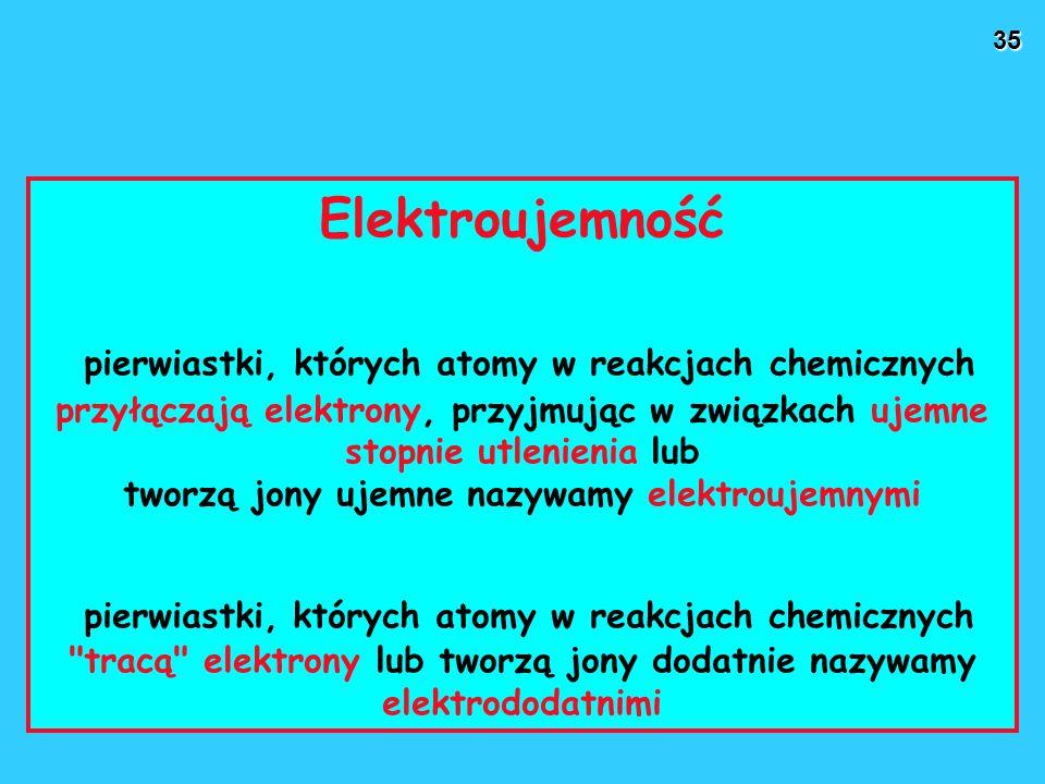 35 Elektroujemność pierwiastki, których atomy w reakcjach chemicznych przyłączają elektrony, przyjmując w związkach ujemne stopnie utlenienia lub tworzą jony ujemne nazywamy elektroujemnymi pierwiastki, których atomy w reakcjach chemicznych tracą elektrony lub tworzą jony dodatnie nazywamy elektrododatnimi