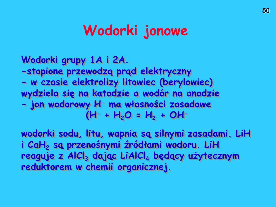 50 Wodorki jonowe Wodorki grupy 1A i 2A. -stopione przewodzą prąd elektryczny - w czasie elektrolizy litowiec (berylowiec) wydziela się na katodzie a