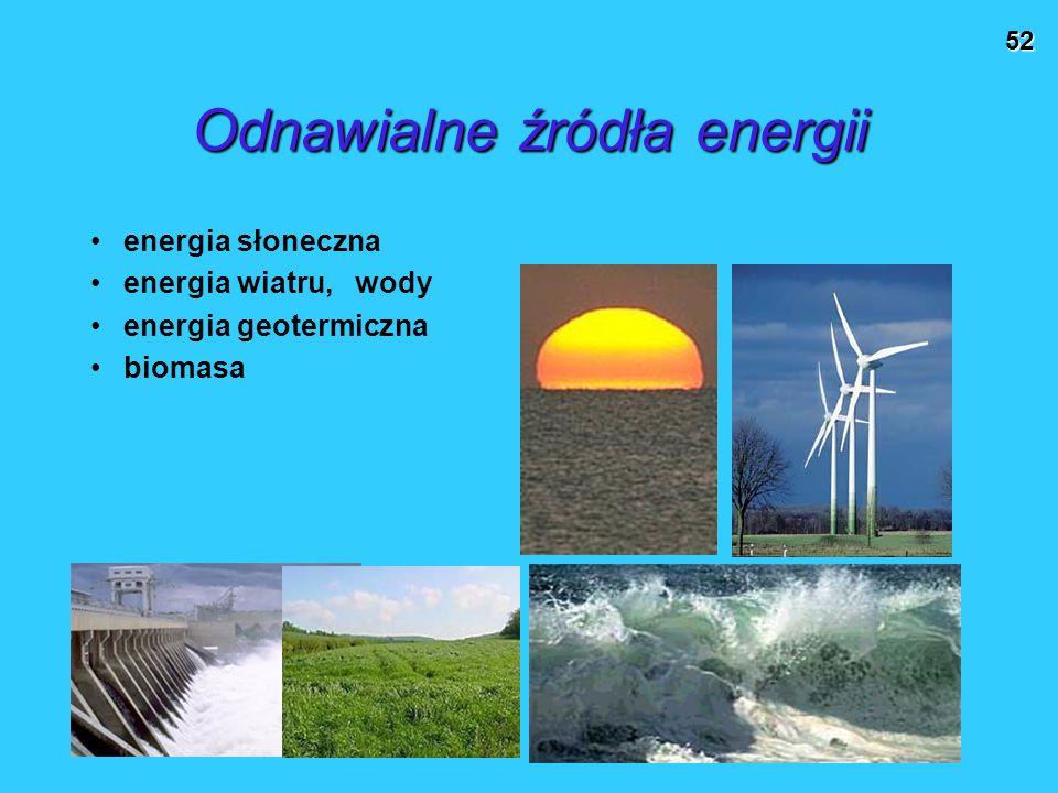 52 Odnawialne źródła energii energia słoneczna energia wiatru, wody energia geotermiczna biomasa