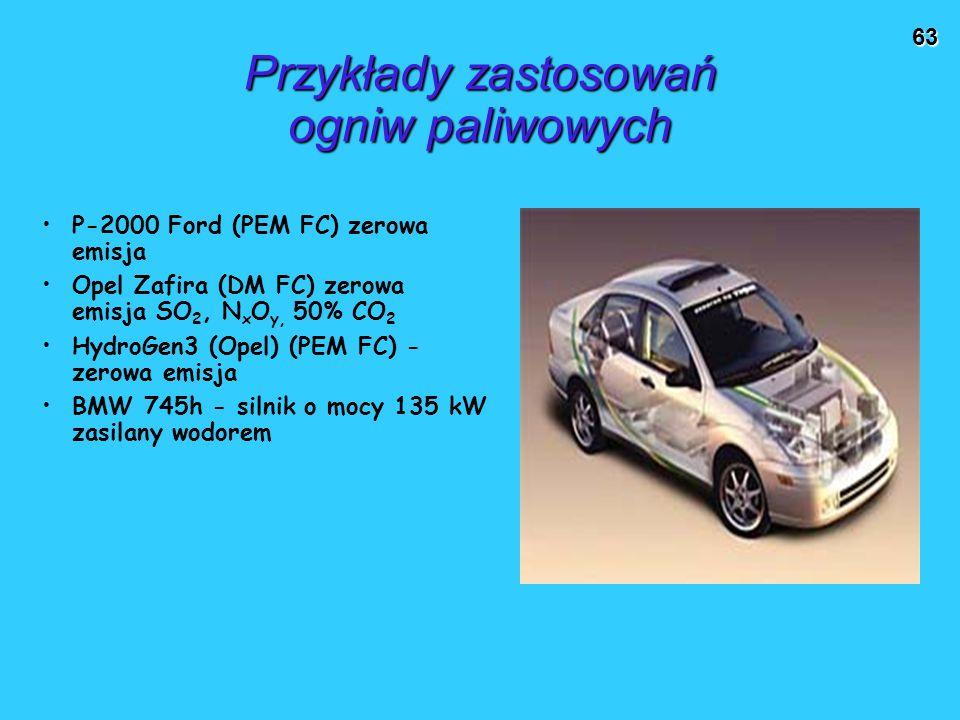 63 Przykłady zastosowań ogniw paliwowych P-2000 Ford (PEM FC) zerowa emisja Opel Zafira (DM FC) zerowa emisja SO 2, N x O y, 50% CO 2 HydroGen3 (Opel) (PEM FC) - zerowa emisja BMW 745h - silnik o mocy 135 kW zasilany wodorem