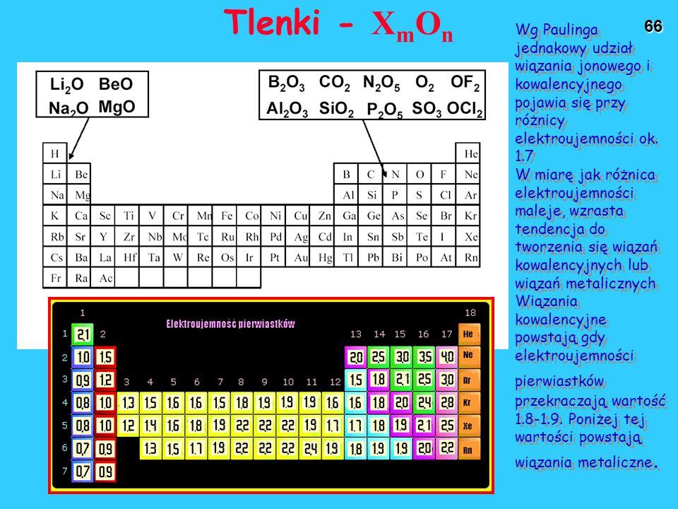 66 Tlenki - X m O n Wg Paulinga jednakowy udział wiązania jonowego i kowalencyjnego pojawia się przy różnicy elektroujemności ok.
