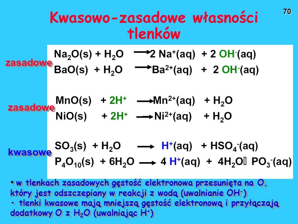 70 Kwasowo-zasadowe własności tlenków zasadowe kwasowe w tlenkach zasadowych gęstość elektronowa przesunięta na O, który jest odszczepiany w reakcji z wodą (uwalnianie OH - ) tlenki kwasowe mają mniejszą gęstość elektronową i przyłączają dodatkowy O z H 2 O (uwalniając H + ) w tlenkach zasadowych gęstość elektronowa przesunięta na O, który jest odszczepiany w reakcji z wodą (uwalnianie OH - ) tlenki kwasowe mają mniejszą gęstość elektronową i przyłączają dodatkowy O z H 2 O (uwalniając H + )