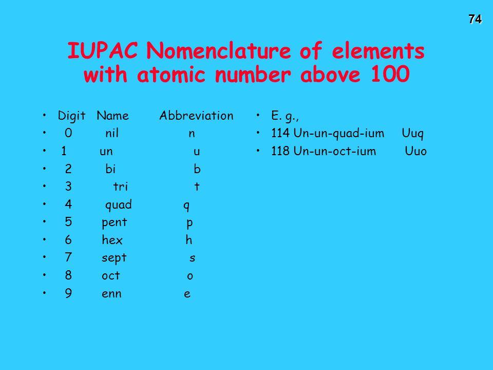 74 IUPAC Nomenclature of elements with atomic number above 100 Digit Name Abbreviation 0 nil n 1 un u 2 bi b 3 tri t 4 quad q 5 pent p 6 hex h 7 sept s 8 oct o 9 enn e E.