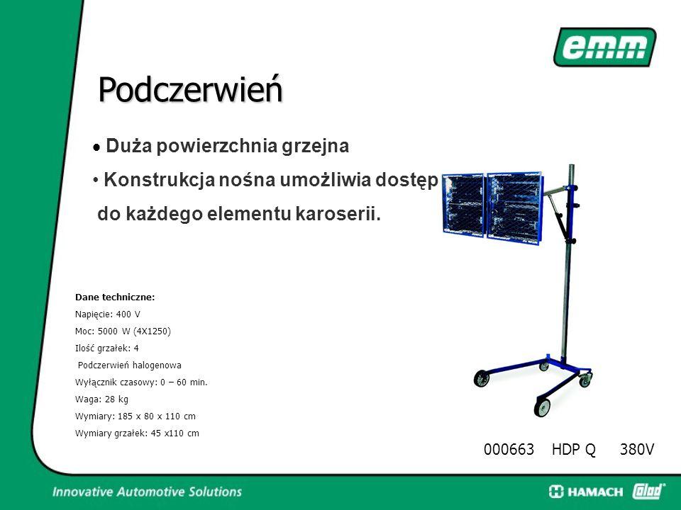 Podczerwień 000661HDP Q 380V Mały i Mobilny Do suszenia szpachli, gruntów i podkładów. Dane techniczne: Napięcie: 400 V Moc: 5000 W (4X1250) Ilość grz