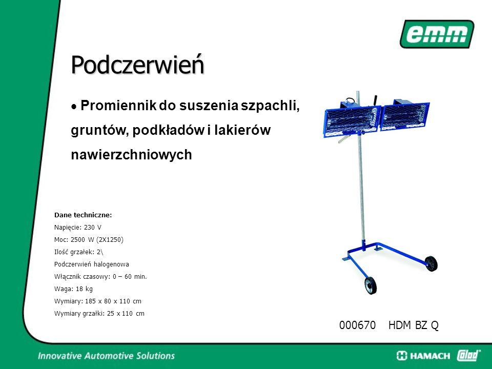 000668HDM BZ Q Podczerwień Promiennik do suszenia szpachli, gruntów, podkładów i lakierów nawierzchniowych Dane techniczne: Napięcie: 230 V Moc: 2500
