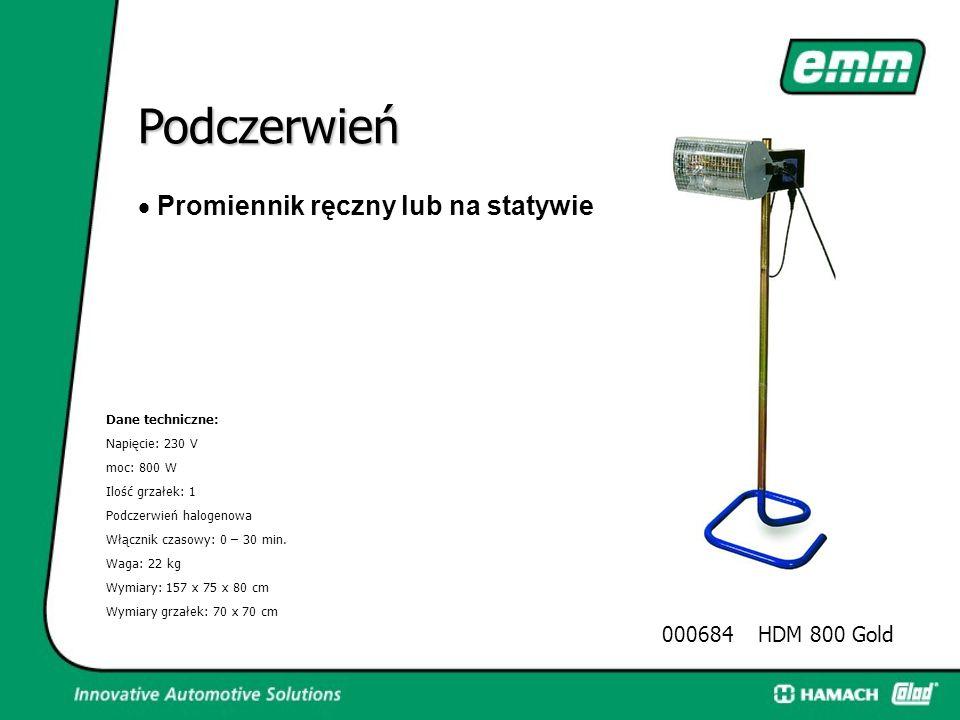 Podczerwień  Promiennik do suszenia szpachli, gruntów, podkładów i lakierów nawierzchniowych Dane techniczne: Napięcie: 230 V Moc: 2500 W (2X1250) Il