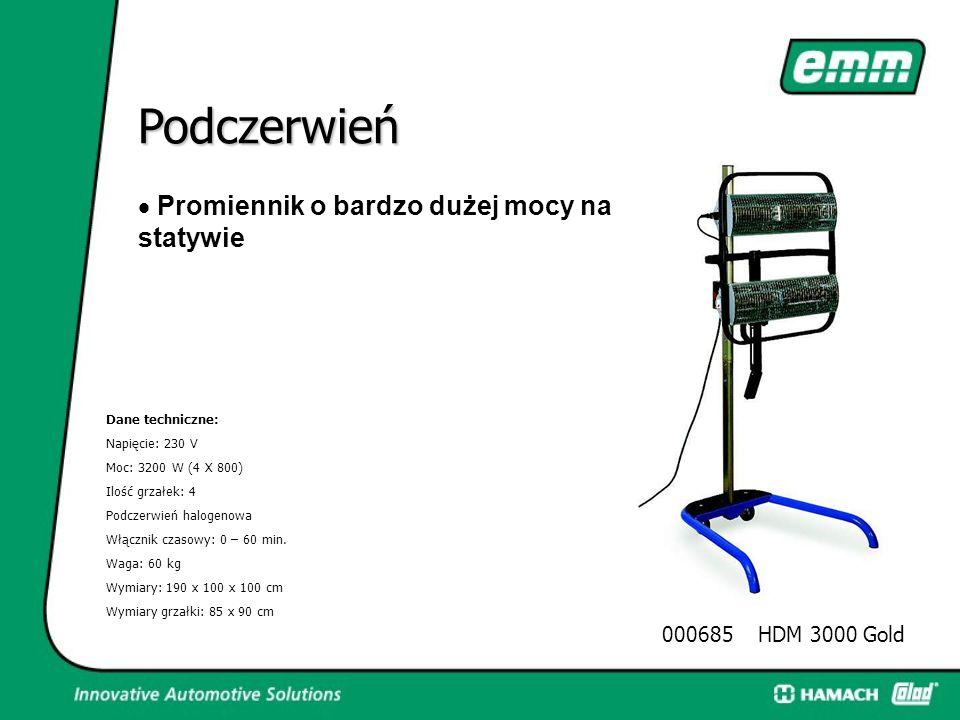 Podczerwień  Promiennik ręczny lub na statywie Dane techniczne: Napięcie: 230 V moc: 800 W Ilość grzałek: 1 Podczerwień halogenowa Włącznik czasowy: