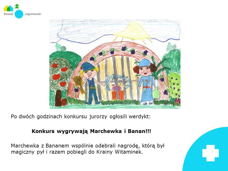 Po dwóch godzinach konkursu jurorzy ogłosili werdykt: Konkurs wygrywają Marchewka i Banan!!.