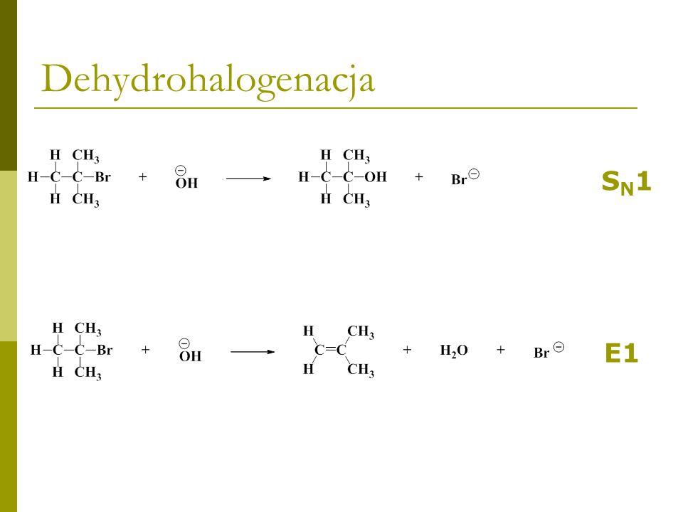 Dehydrohalogenacja SN1SN1E1 etap wspólny dla obu reakcji SN1SN1 działanie nukleofila E1 działanie zasady