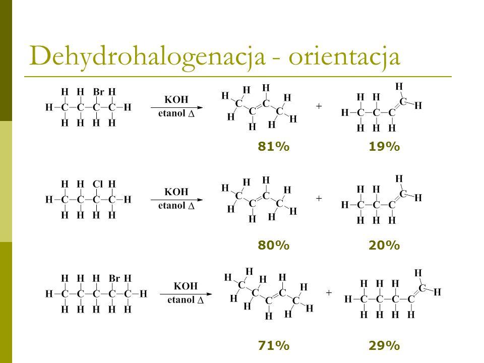 Dehydrohalogenacja - orientacja <<< Łatwość tworzenia się alkenówTrwałość alkenów W PROCESIE DEHYDROHALOGENACJI ŁATWIEJ TWORZĄ SIĘ TRWALSZE ALKENY =