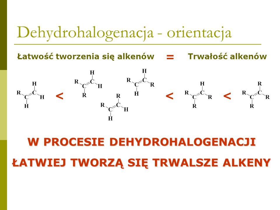 Dehydrohalogenacja - orientacja 80% 20%