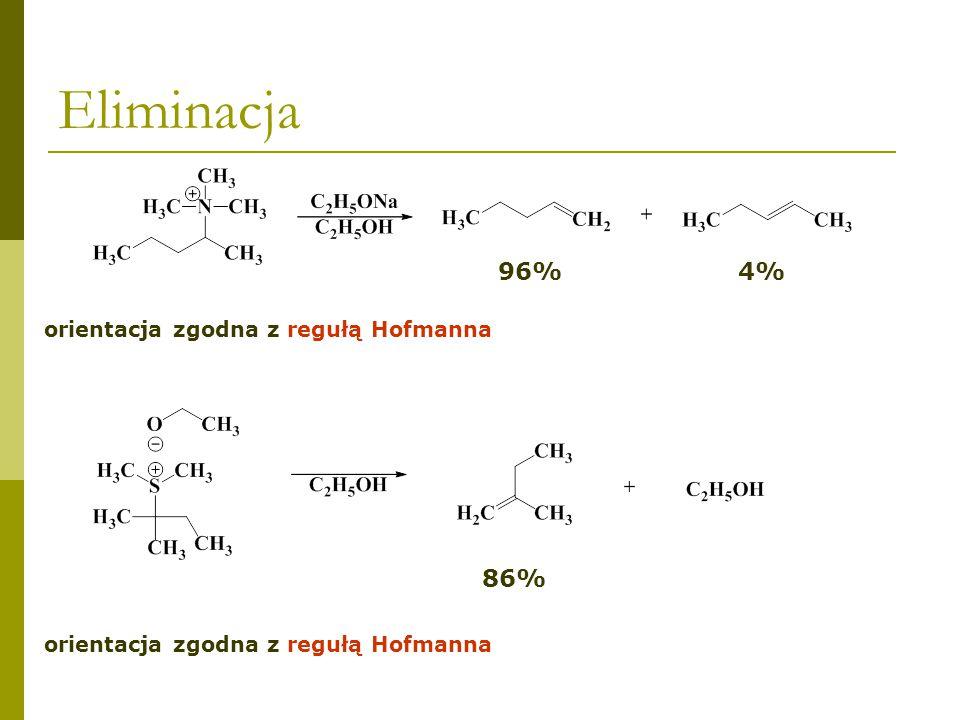 ZADANIE DOMOWE Dlaczego w wyniku ogrzewania w etanolu jodku dimetylo-tert-pentylosulfoniowego otrzymuje się 2-metylo-2-buten jako produkt główny (86%)?