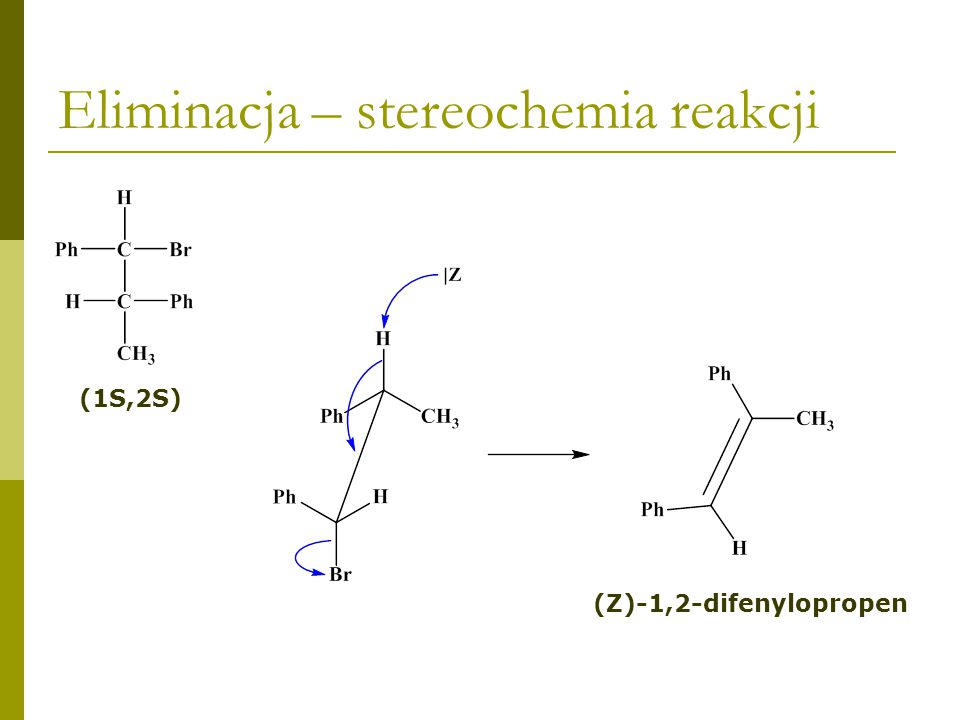 Eliminacja – stereochemia reakcji (1R,2S) (E)-1,2-difenylopropen