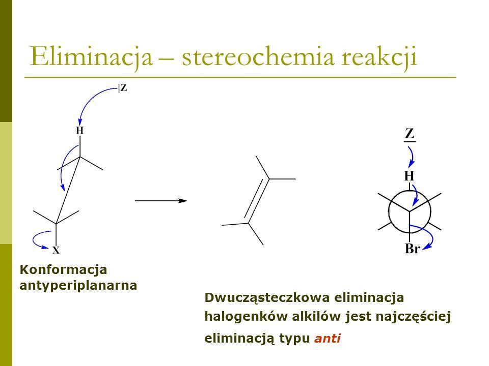 Eliminacja – stereochemia reakcji chlorek neomentylu 75% 25% Eliminacja zgodna z regułą Zajcewa