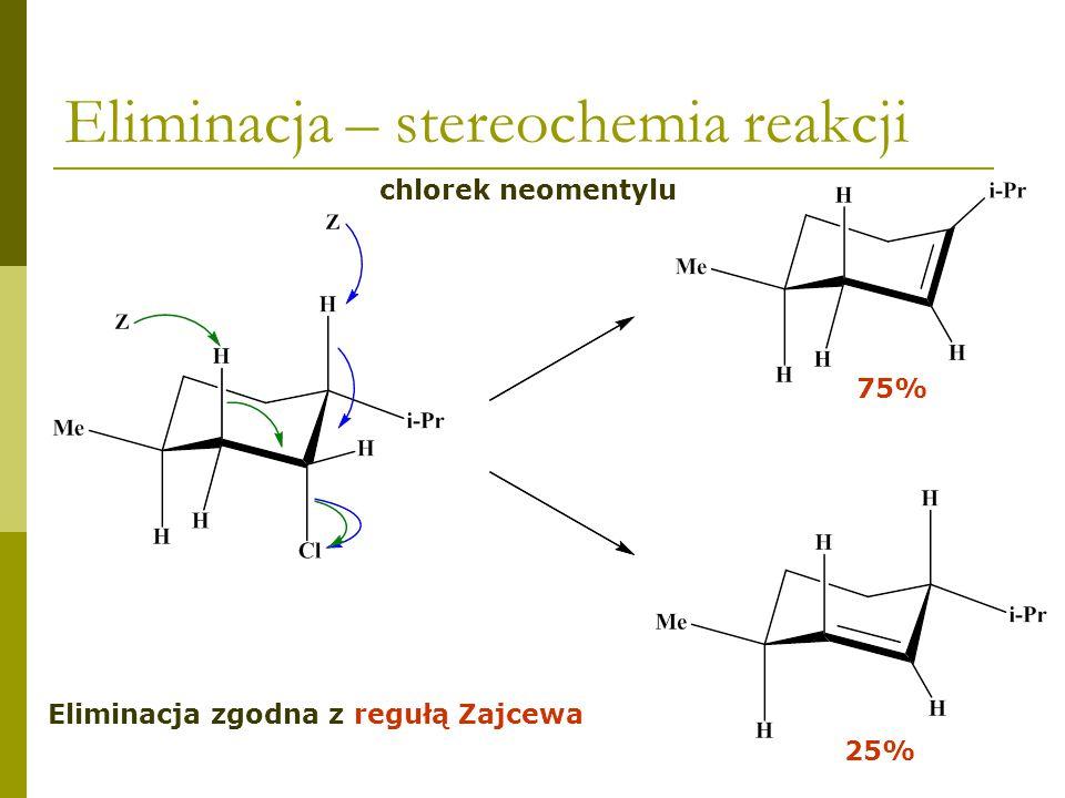 Następuje zmiana konformacji cząsteczki Eliminacja – stereochemia reakcji chlorek mentylu Podstawniki zajmują pozycje ekwatorialne Nie jest możliwa eliminacja anti Podstawniki zajmują pozycje aksjalne Atom chloru ma sąsiadujący atom wodoru w pozycji aksjalnej Tworzy się mniej rozgałęziony alken Reakcja zachodzi niezgodnie z regułą Zajcewa