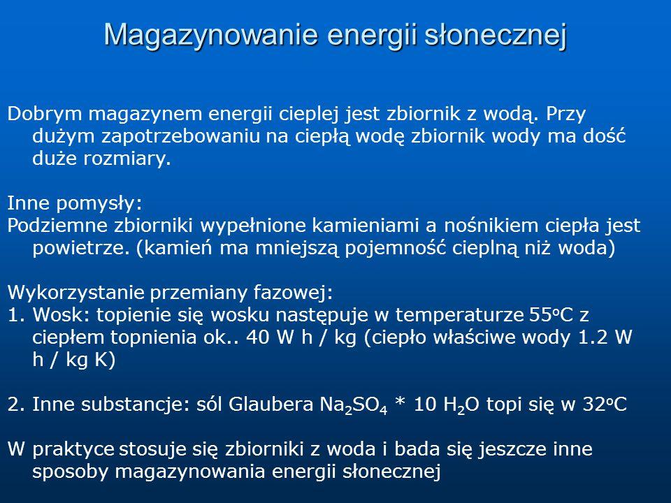 Magazynowanie energii słonecznej Dobrym magazynem energii cieplej jest zbiornik z wodą. Przy dużym zapotrzebowaniu na ciepłą wodę zbiornik wody ma doś