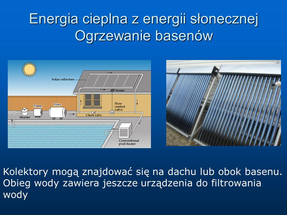 Energia cieplna z energii słonecznej Ogrzewanie basenów Kolektory mogą znajdować się na dachu lub obok basenu. Obieg wody zawiera jeszcze urządzenia d
