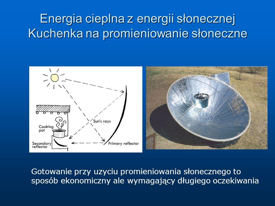 Energia cieplna z energii słonecznej Kuchenka na promieniowanie słoneczne Gotowanie przy uzyciu promieniowania słonecznego to sposób ekonomiczny ale w