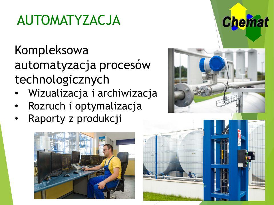 AUTOMATYZACJA Kompleksowa automatyzacja procesów technologicznych Wizualizacja i archiwizacja Rozruch i optymalizacja Raporty z produkcji 10