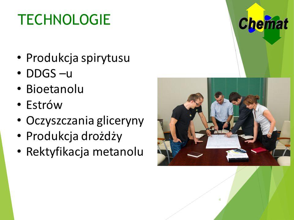 TECHNOLOGIE Produkcja spirytusu DDGS –u Bioetanolu Estrów Oczyszczania gliceryny Produkcja drożdży Rektyfikacja metanolu 4