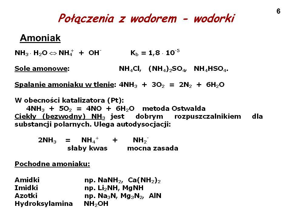 6 Połączenia z wodorem - wodorki Amoniak