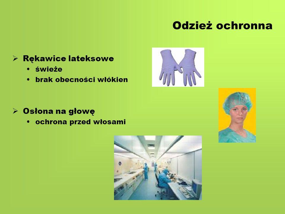 Odzież ochronna   Rękawice lateksowe świeże brak obecności włókien   Osłona na głowę ochrona przed włosami