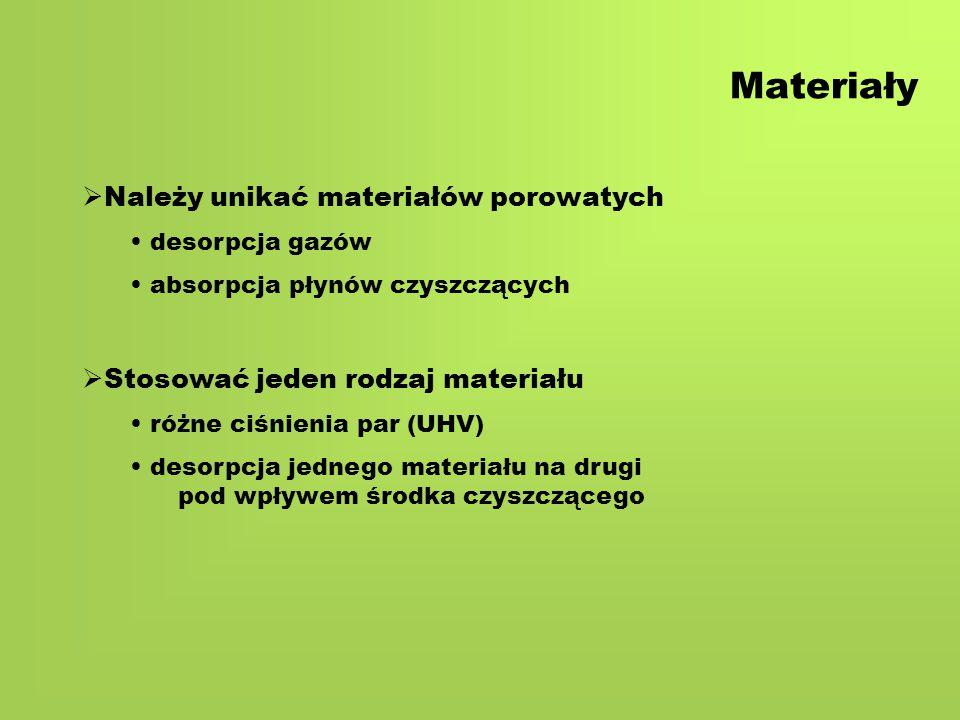 Materiały  Należy unikać materiałów porowatych desorpcja gazów absorpcja płynów czyszczących  Stosować jeden rodzaj materiału różne ciśnienia par (UHV) desorpcja jednego materiału na drugi pod wpływem środka czyszczącego
