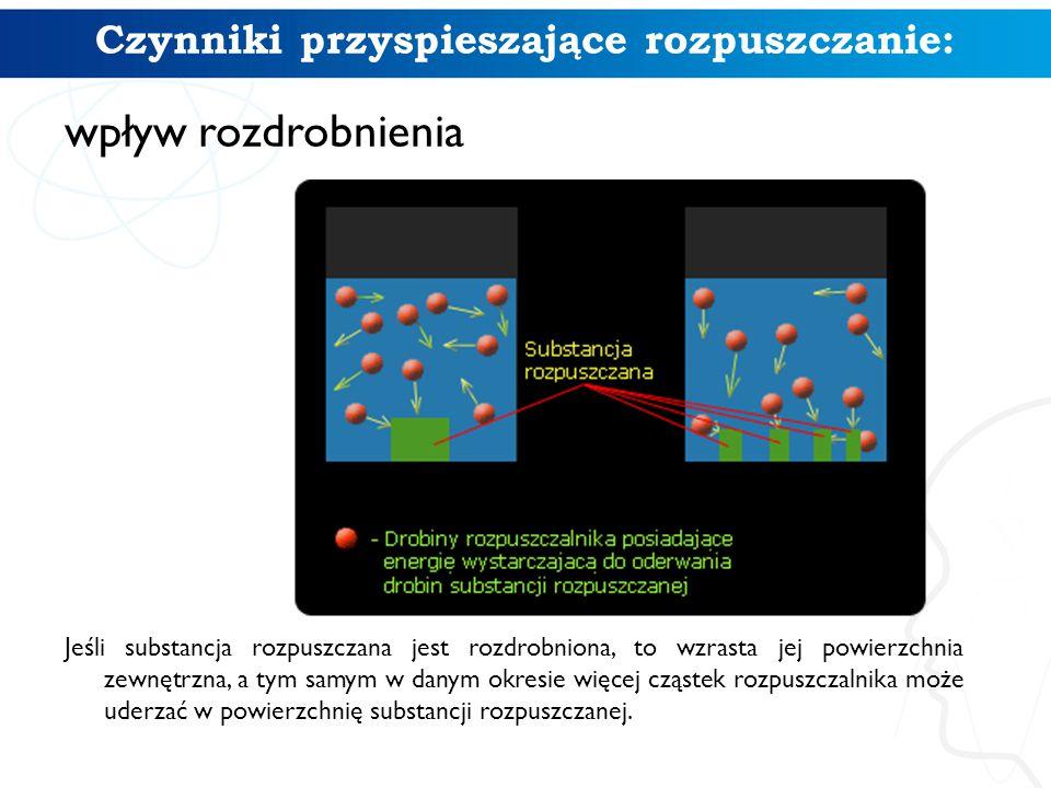 Czynniki przyspieszające rozpuszczanie: wpływ rozdrobnienia Jeśli substancja rozpuszczana jest rozdrobniona, to wzrasta jej powierzchnia zewnętrzna, a