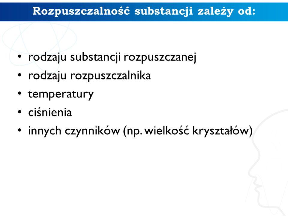 Rozpuszczalność substancji zależy od: rodzaju substancji rozpuszczanej rodzaju rozpuszczalnika temperatury ciśnienia innych czynników (np. wielkość kr