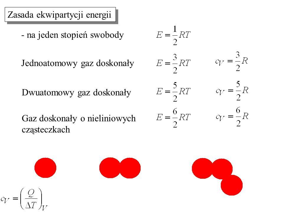 Zasada ekwipartycji energii Jednoatomowy gaz doskonały Dwuatomowy gaz doskonały Gaz doskonały o nieliniowych cząsteczkach - na jeden stopień swobody
