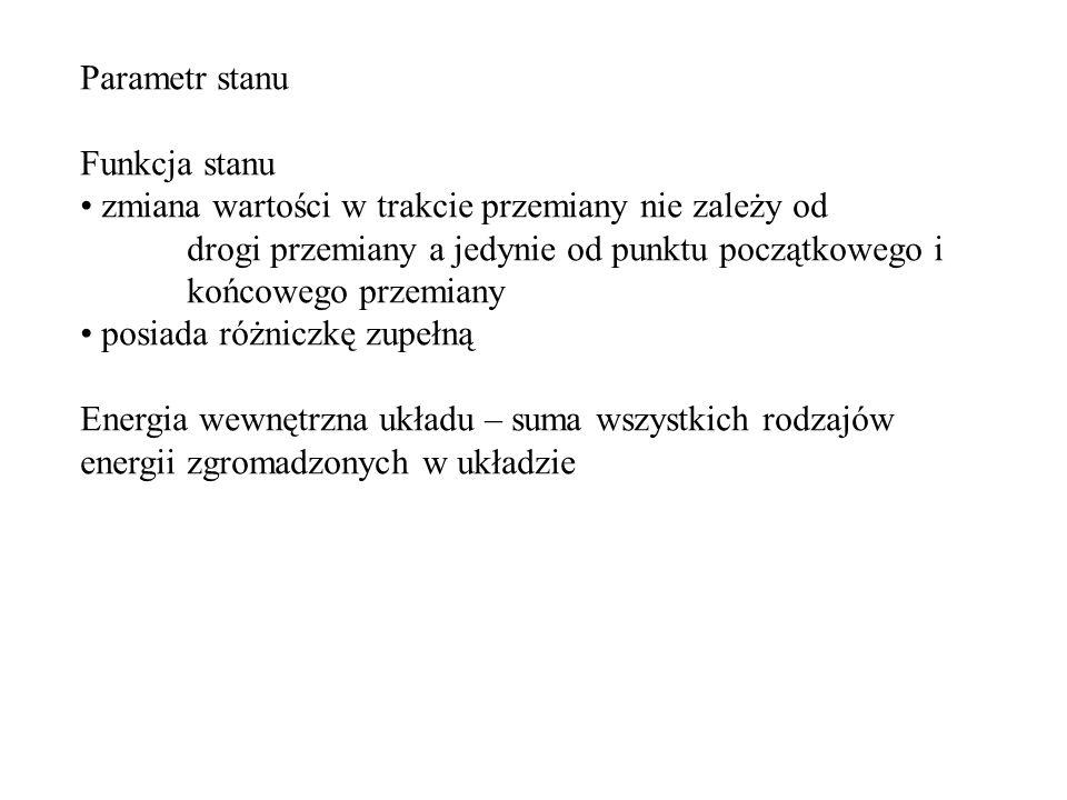 I zasada termodynamiki (układ izolowany) I zasada termodynamiki (układ zamknięty)
