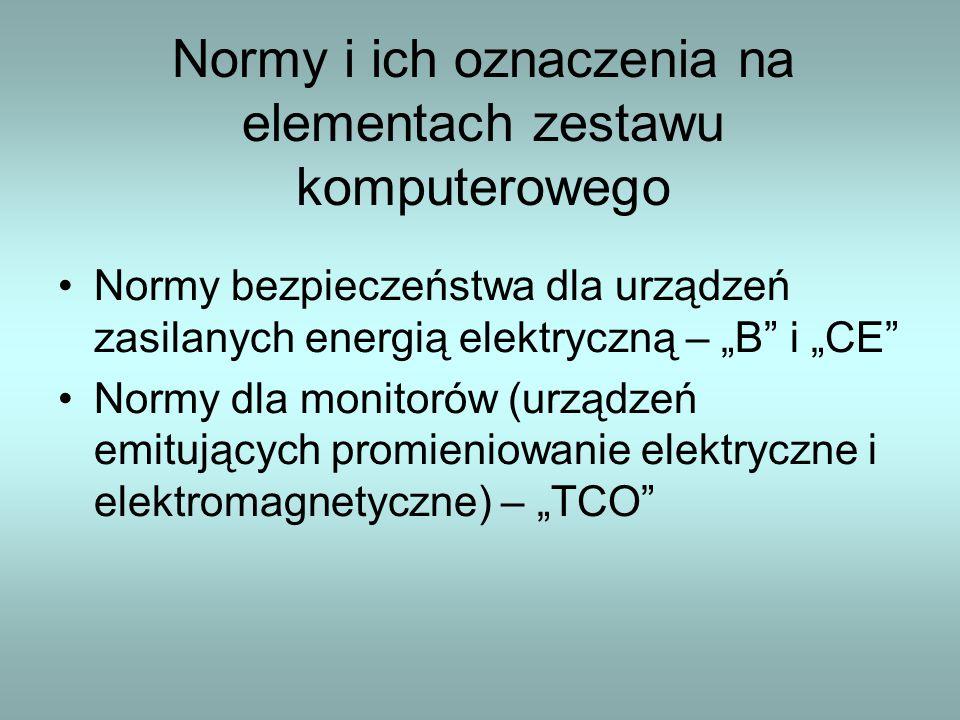 """Normy i ich oznaczenia na elementach zestawu komputerowego Normy bezpieczeństwa dla urządzeń zasilanych energią elektryczną – """"B"""" i """"CE"""" Normy dla mon"""