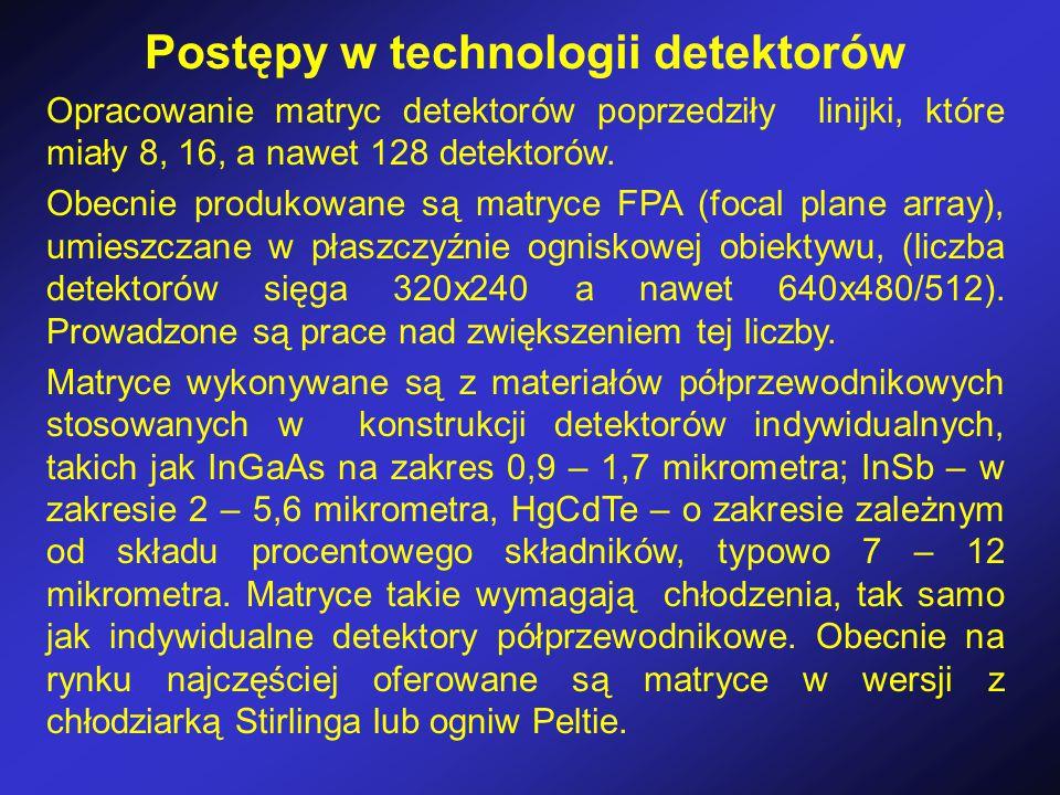 Postępy w technologii detektorów Opracowanie matryc detektorów poprzedziły linijki, które miały 8, 16, a nawet 128 detektorów.