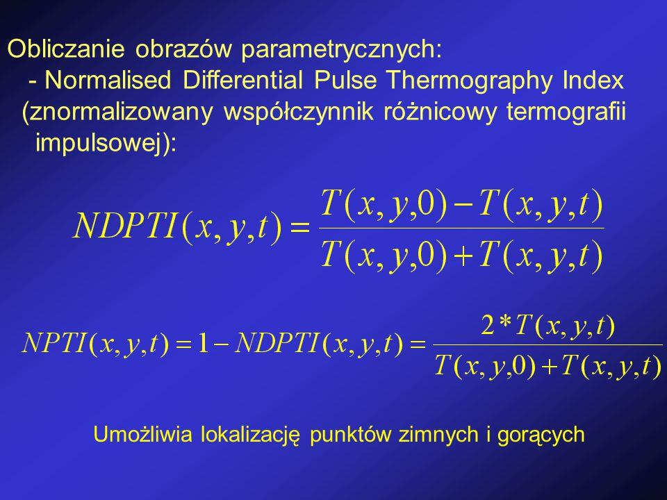Obliczanie obrazów parametrycznych: - Normalised Differential Pulse Thermography Index (znormalizowany współczynnik różnicowy termografii impulsowej): Umożliwia lokalizację punktów zimnych i gorących