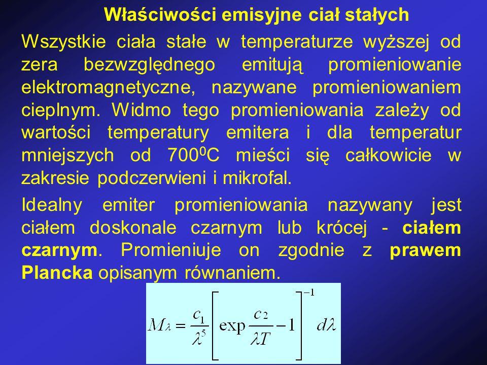 Właściwości emisyjne ciał stałych Wszystkie ciała stałe w temperaturze wyższej od zera bezwzględnego emitują promieniowanie elektromagnetyczne, nazywa