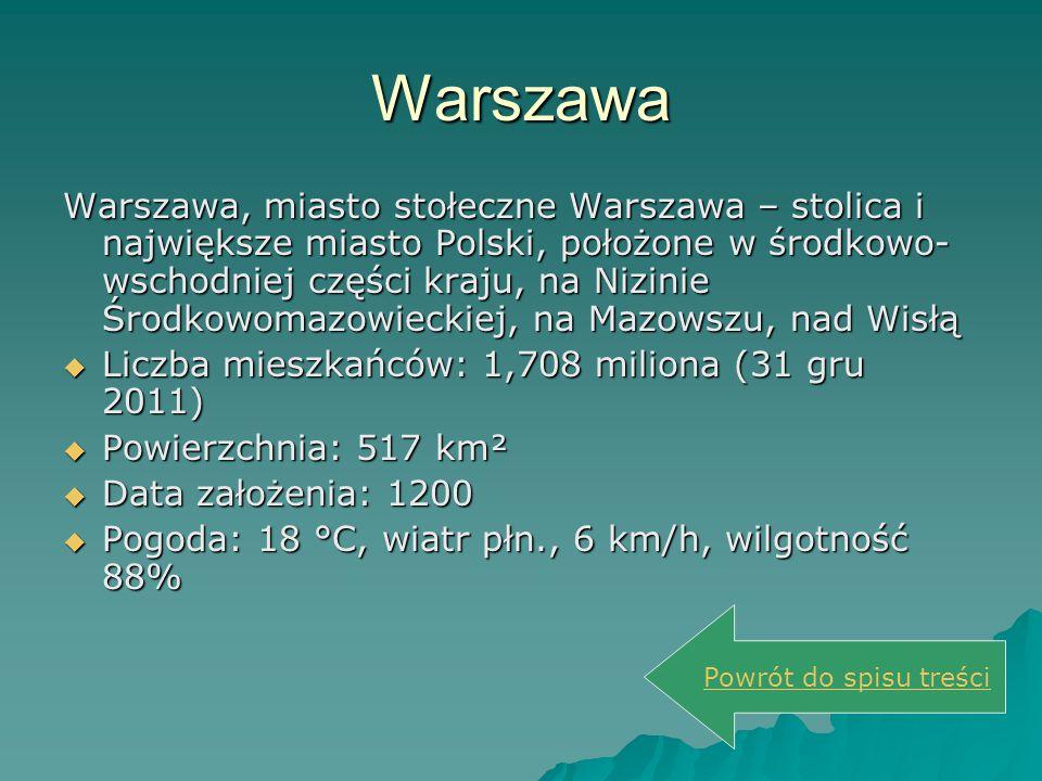 Warszawa Warszawa, miasto stołeczne Warszawa – stolica i największe miasto Polski, położone w środkowo- wschodniej części kraju, na Nizinie Środkowoma
