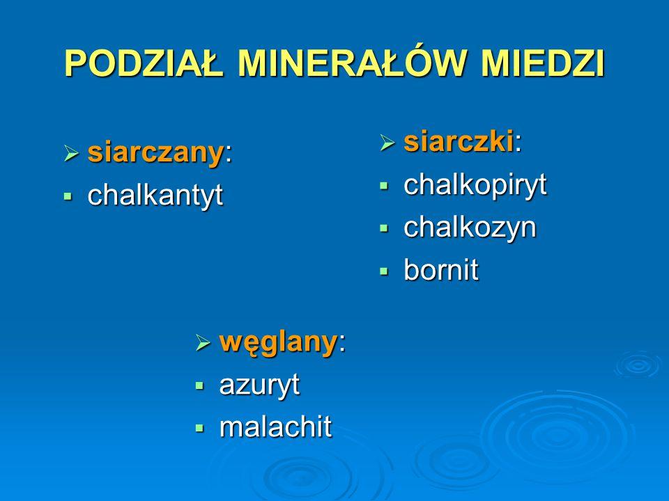 PODZIAŁ MINERAŁÓW MIEDZI  siarczki:  chalkopiryt  chalkozyn  bornit  węglany:  azuryt  malachit  siarczany:  chalkantyt