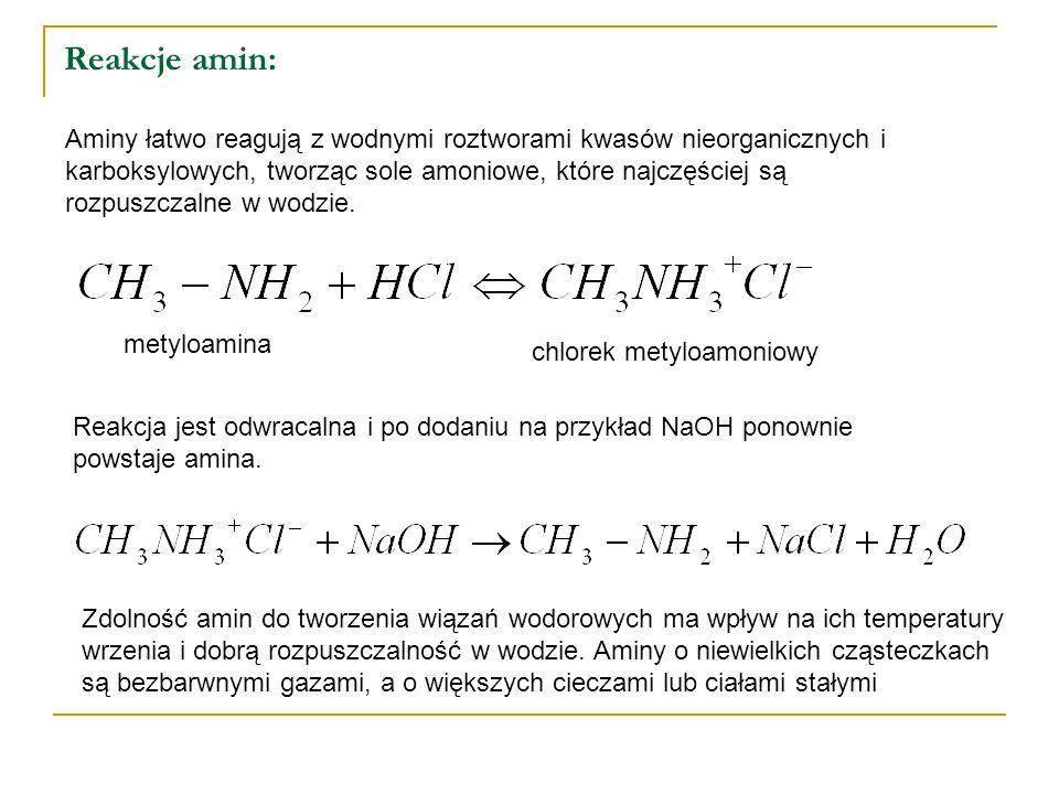 Reakcje amin: Aminy łatwo reagują z wodnymi roztworami kwasów nieorganicznych i karboksylowych, tworząc sole amoniowe, które najczęściej są rozpuszczalne w wodzie.
