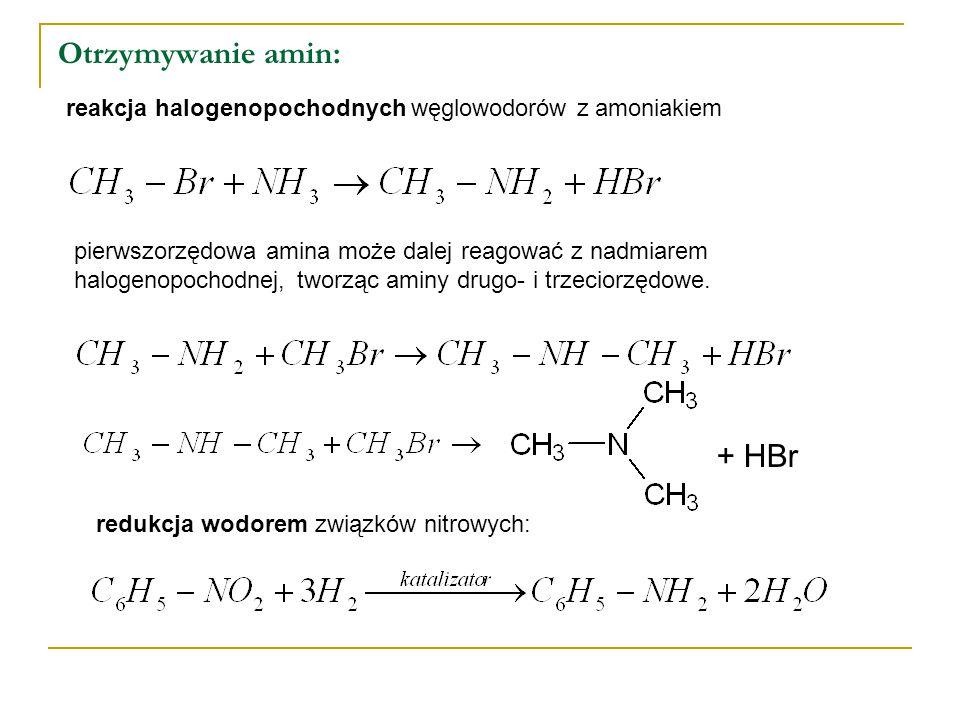 Otrzymywanie amin: reakcja halogenopochodnych węglowodorów z amoniakiem pierwszorzędowa amina może dalej reagować z nadmiarem halogenopochodnej, tworząc aminy drugo- i trzeciorzędowe.