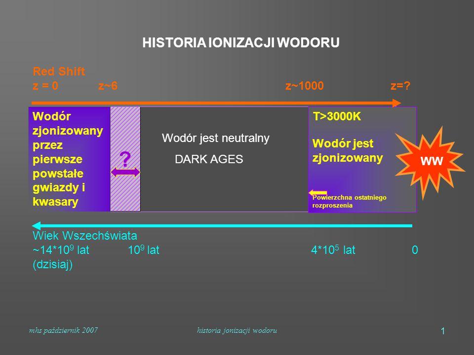 mhs październik 2007historia jonizacji wodoru 1 Wodór jest neutralny DARK AGES Red Shift z = 0 z~6 z~1000 z=? HISTORIA IONIZACJI WODORU Wodór zjonizow