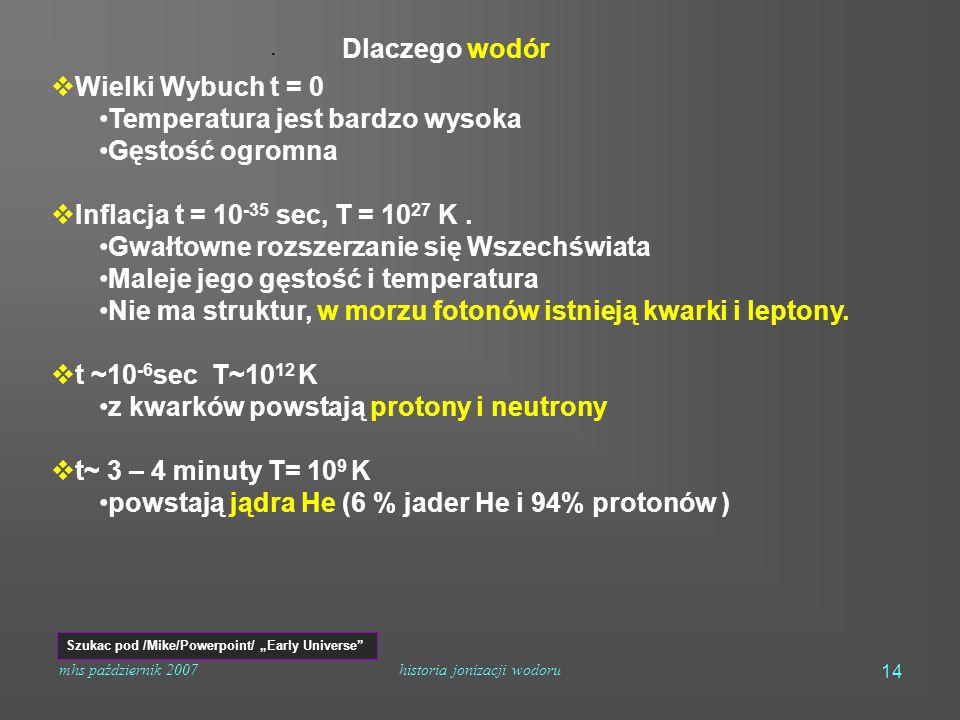 mhs październik 2007historia jonizacji wodoru 14  Wielki Wybuch t = 0 Temperatura jest bardzo wysoka Gęstość ogromna  Inflacja t = 10 -35 sec, T = 10 27 K.