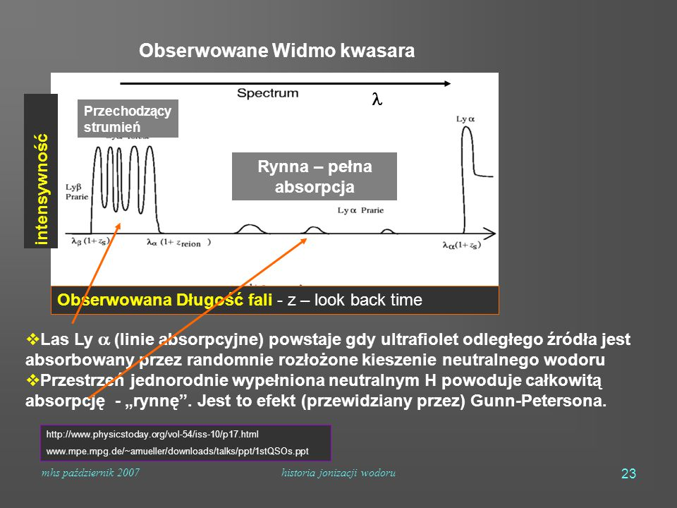 """mhs październik 2007historia jonizacji wodoru 23  Las Ly  (linie absorpcyjne) powstaje gdy ultrafiolet odległego źródła jest absorbowany przez randomnie rozłożone kieszenie neutralnego wodoru  Przestrzeń jednorodnie wypełniona neutralnym H powoduje całkowitą absorpcję - """"rynnę ."""