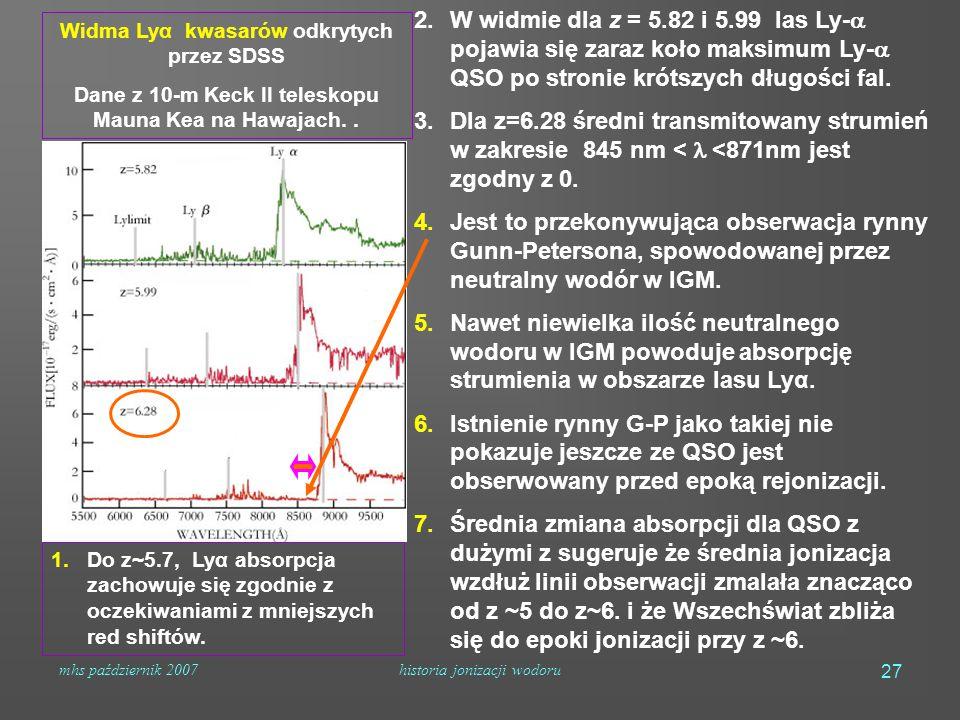 mhs październik 2007historia jonizacji wodoru 27 1.Do z~5.7, Lyα absorpcja zachowuje się zgodnie z oczekiwaniami z mniejszych red shiftów.